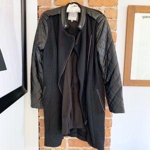 BB Dakota Melinda Black Wool Quilted Coat Size L